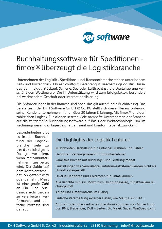 Speditionen pdf - fimox Buchhaltungssoftware