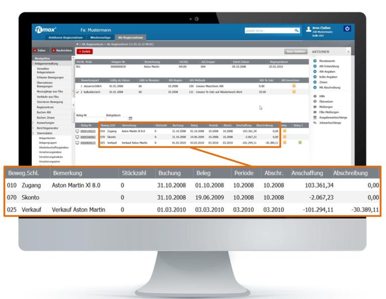 Anlagenbuchhaltung Abschreibungsentwicklung - fimox Buchhaltungssoftware